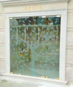 Porta in vetro trasparente con decorazione - 1